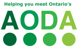 graphic with the words: Helping you meet Ontario's AODA